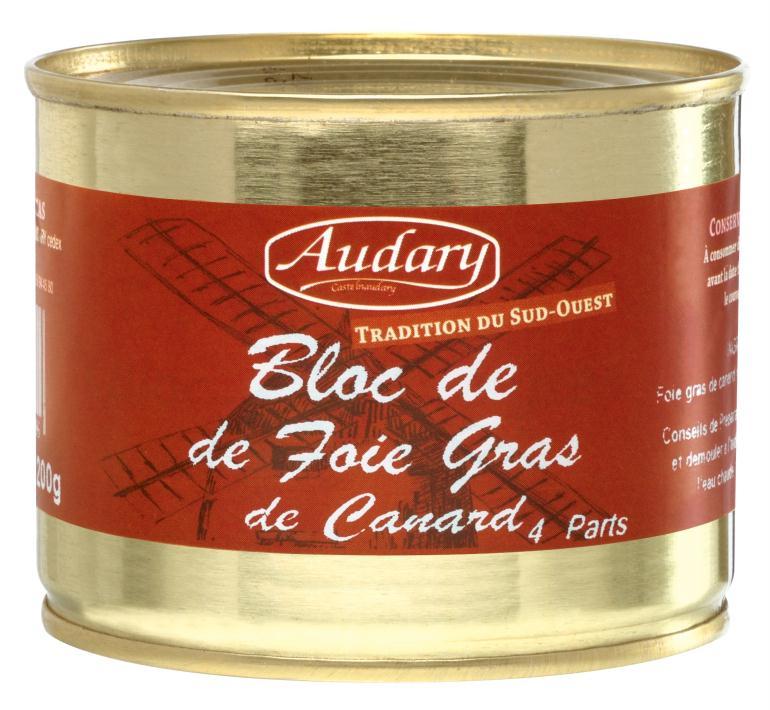 bloc de foie gras de canard 200 gr audary epicerie picerie en ligne au meilleur prix. Black Bedroom Furniture Sets. Home Design Ideas